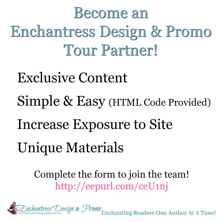 Bloggers, Reviewers, Social Media Book Lovers!! Join the team and become an Enchantress Design & Promo Tour Partner!!