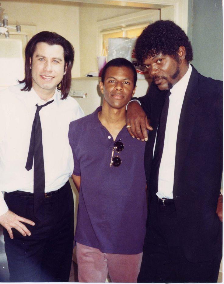 John Travolta, Phil LaMarr & Samuel L Jackson on the set of Pulp Fiction