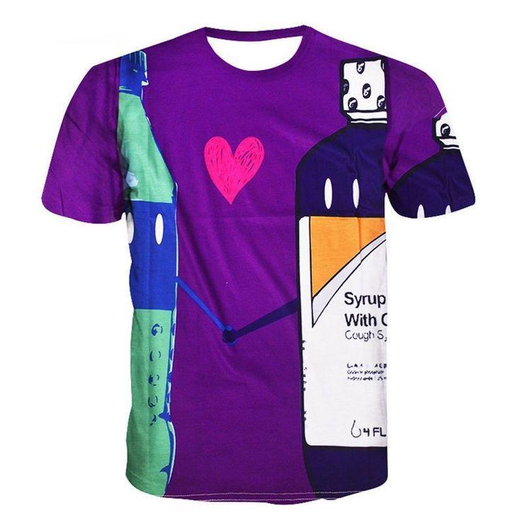 Lean in Love T Shirt  Sprite Codeine Double Cups Purple Drank 3d Crewneck T-Shirt polyester