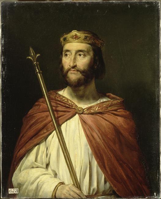 Charles III cède la Normandie aux Vikings (911) après sa victoire à Chartres sur le chef Rollon  Charles III, dit le simple, roi de France en 896 (879-929) peint par Georges Rouget (1783-1869). Peinture acquise en 1838 et conservée au musée national du Château et des Trianons de Versailles.