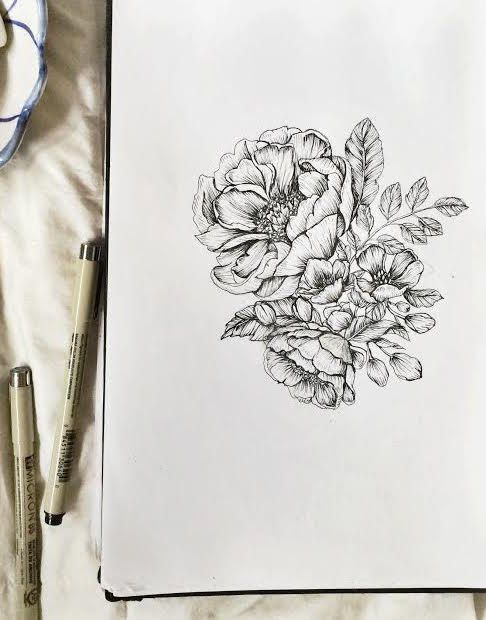 "Peonies Botanical 8.5"" x 11"" Floral Pen & Ink Hand Drawn Illustration"