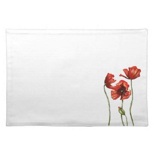 Red Poppy Floral Design Placemat