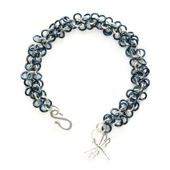 Sterling Silver and Blue Enameled Copper Shaggy by FionaKDesigns #handmade