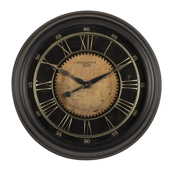 Studio Designs Home 24-inch Classic Villa Wall Clock Antique Brass and Brown Traditional Wall Clock