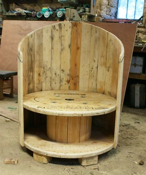 Industrial wooden cable spool and pallet wood chair