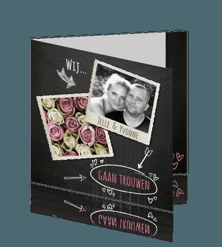 Hippe trouwkaart krijt bord met roze rozen en tekeningen/ #trouwkaart #trouwkaarten