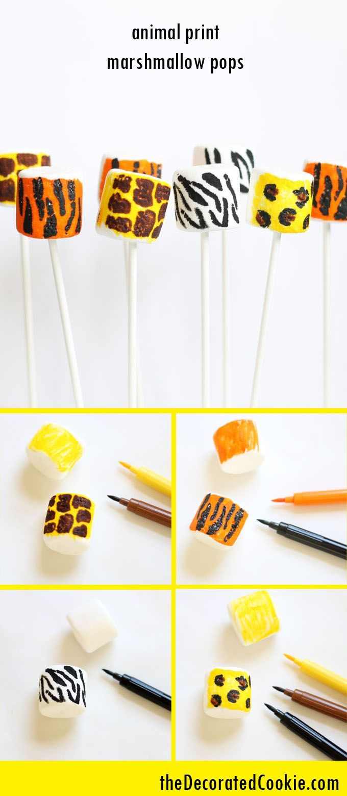 learn to draw animal print marshmallow pops, EASY, with video how-tos, can also be used for cookie and cake decorating and cupcakes