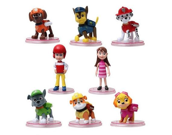 This listing is for a 8 piece figurine playset with characters from the Nick Jr. hit TV show... Paw Patrol! These are great for cake toppers