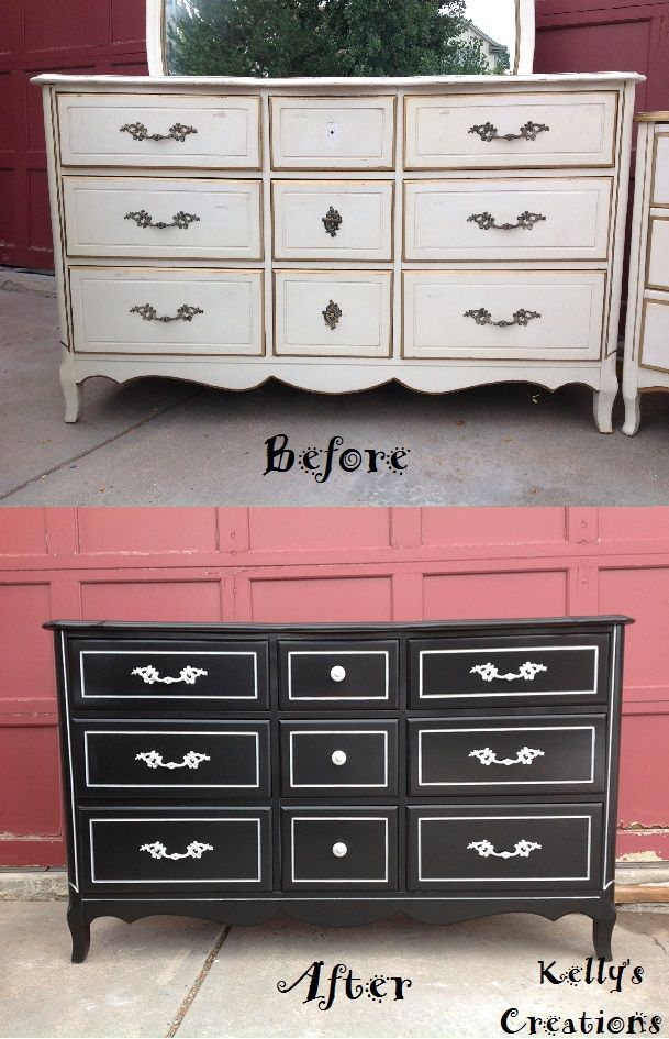 French provincial 9 drawer dresser painted black with - Painted french provincial bedroom furniture ...