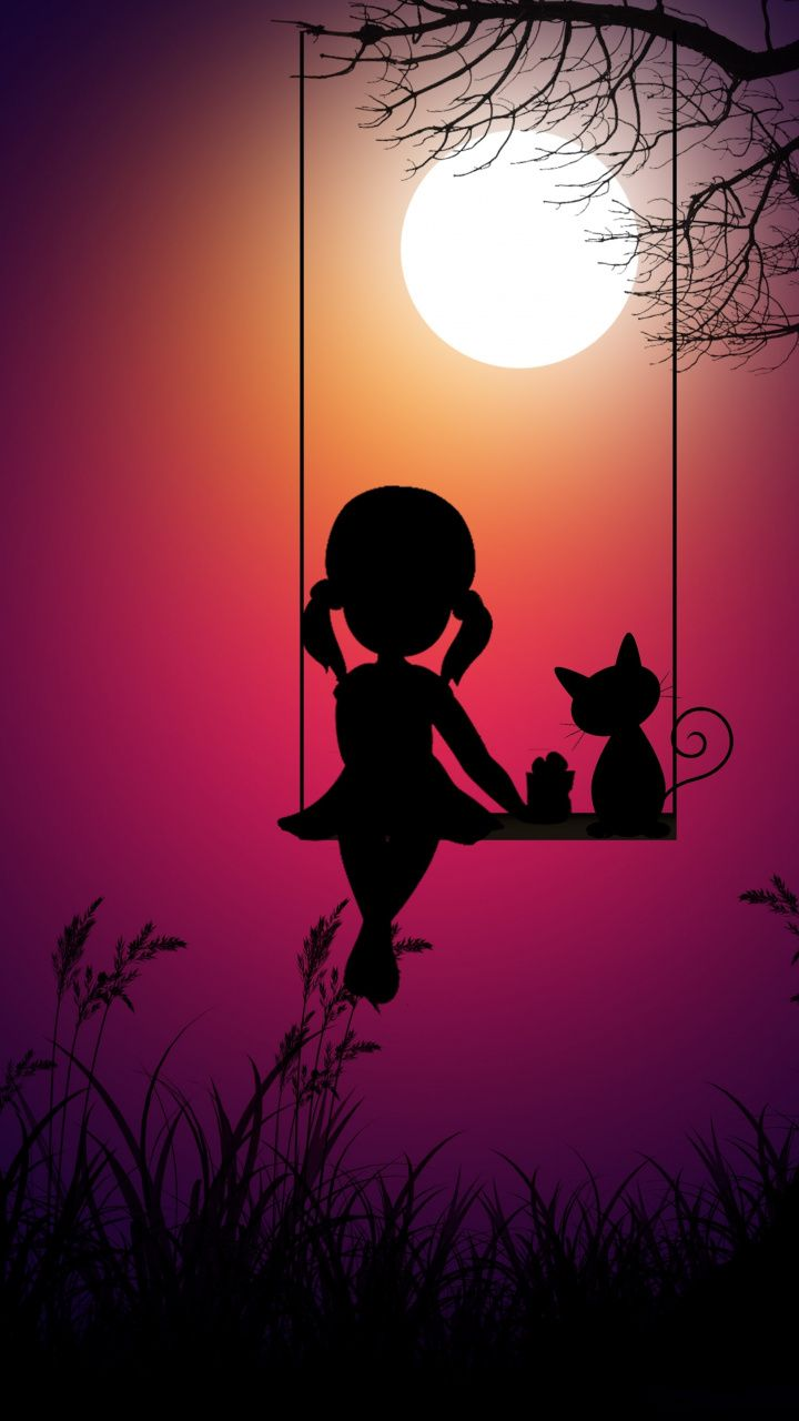 Kid Girl And Cat Swing Moon Light Digital Art 720x1280