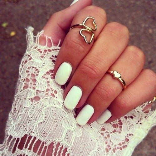 more post like this hereWhitenails, Nails Art, Nails Design, Heart Rings, Beautiful, Knuckle Rings, Gold Rings, White Nails, Nails Polish