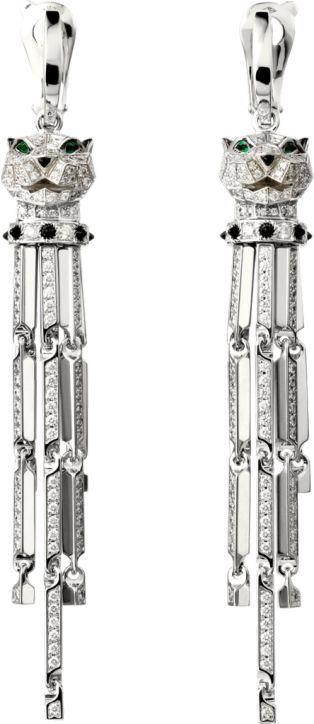 Panthère de Cartier earrings White gold, diamonds, emeralds, onyx