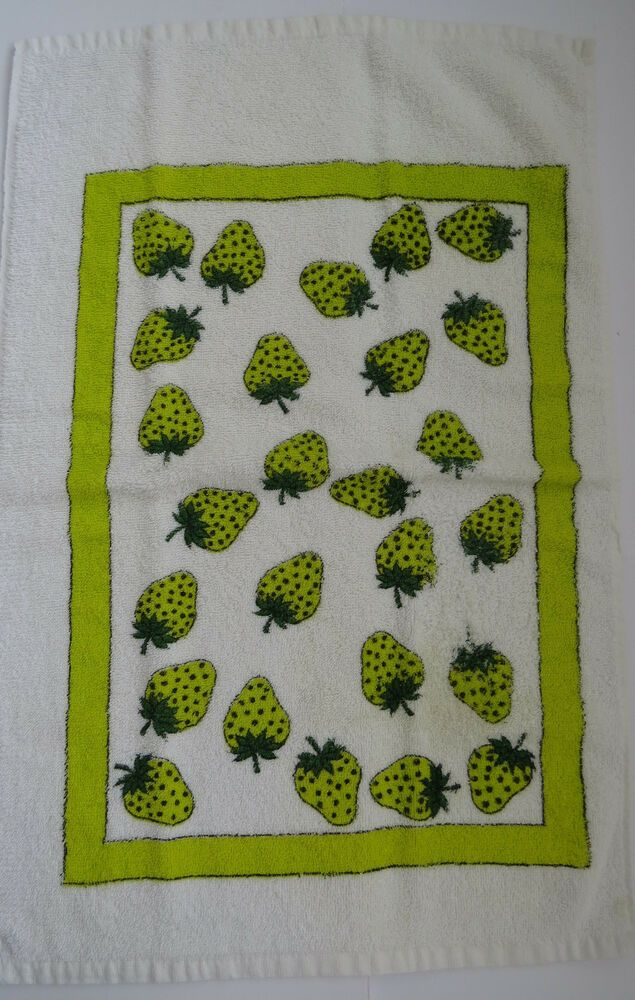 1960s Terry Cloth Tea Towel Lime Green Strawberries Retro Dish