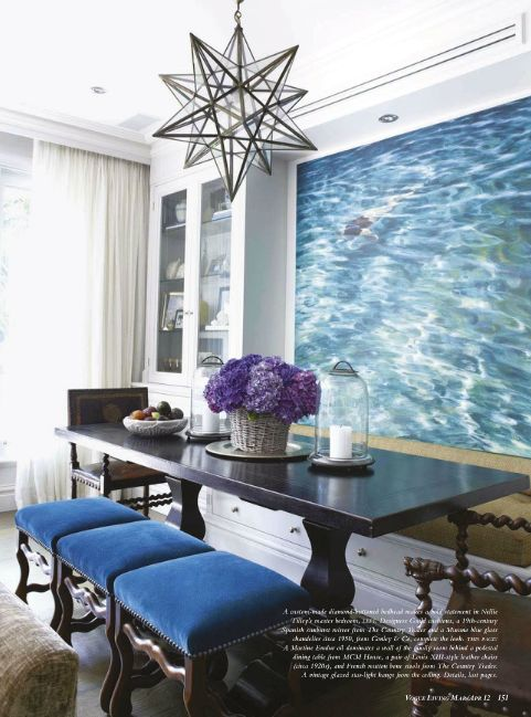 don't love the light but do love the blue!  Dining Room by Nellie Tilly from Vogue Living Australia