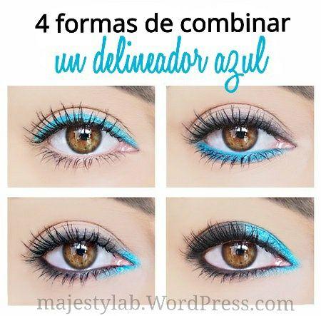 Cómo combinar un delineador de ojos de color azul.