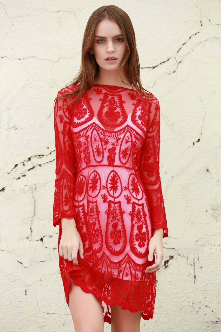 Solid Color See-Through 3/4 Sleeves Openwork Lace Dress - RED XL