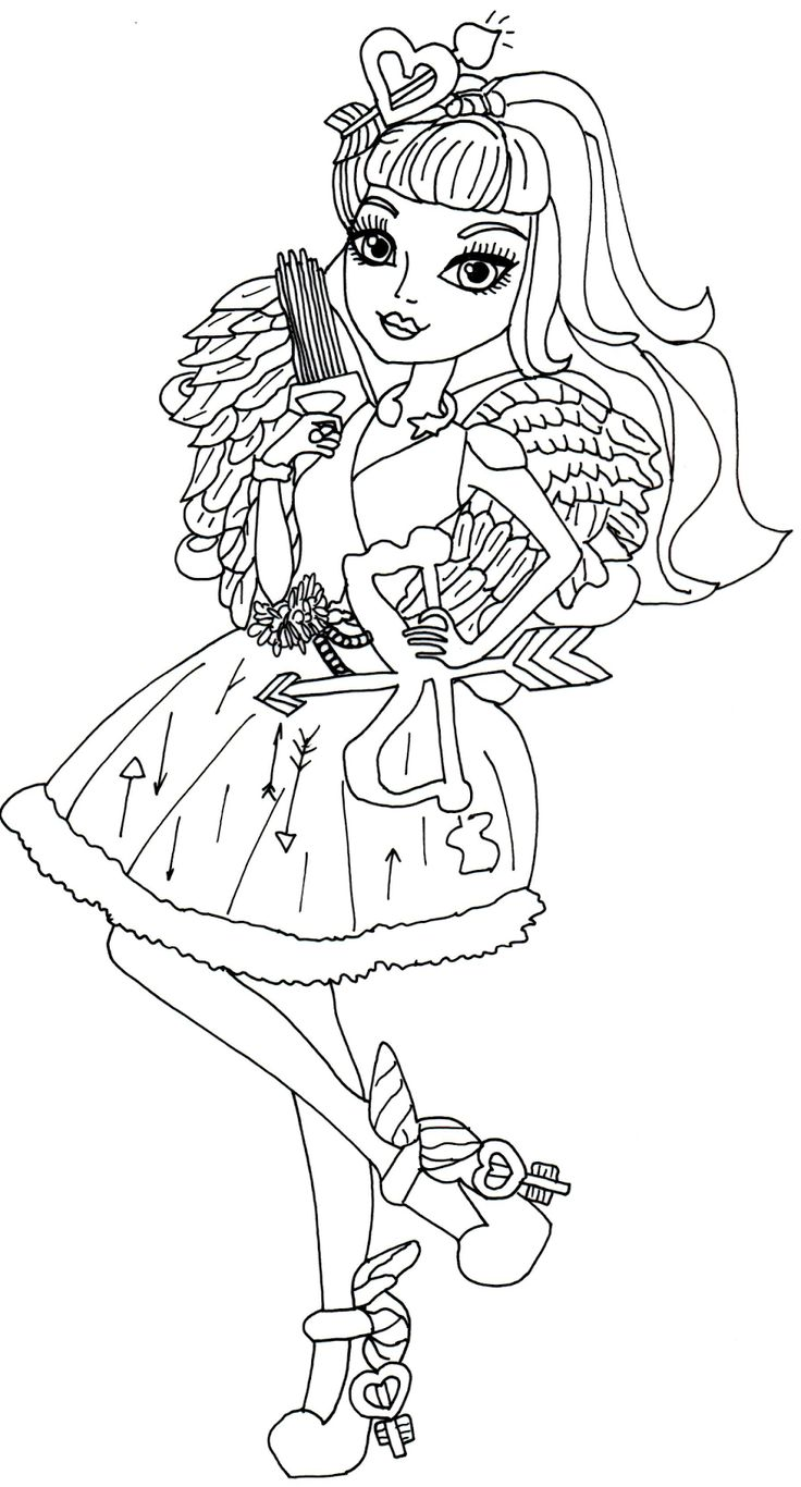 Lizzie hearts coloring page - C A Cupid Ever After High Coloring Page