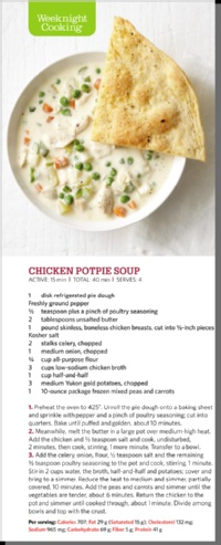 Chicken potpie soup  Clipped from Food Network Magazine using Netpage.