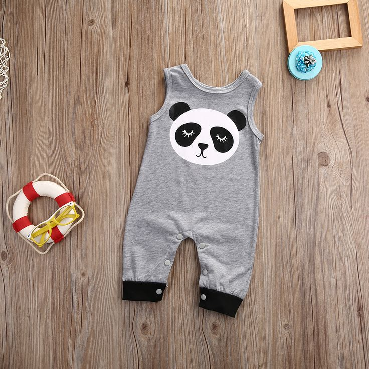 >> Click to Buy << 2017 Newborn Infant Baby Boy Girl Clothes Summer Grey Sleeveless Cartoon Panda Cotton Bodysuit Baby Clothes Sunsuit  #Affiliate