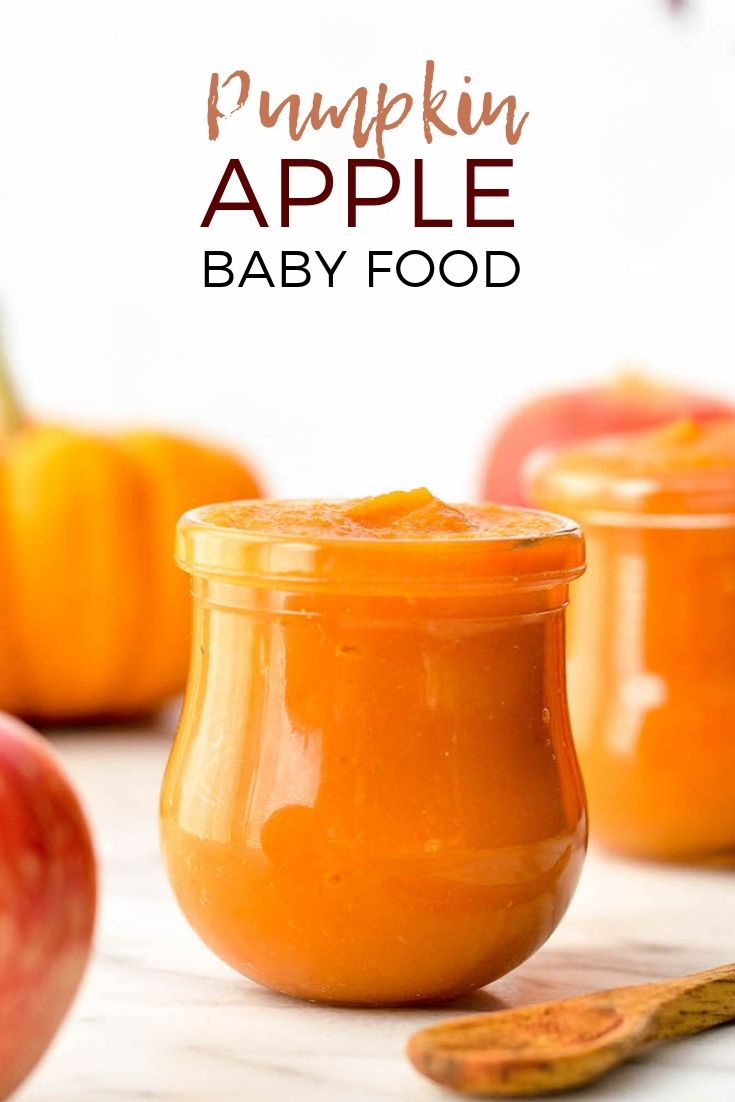 This Homemade Apple & Pumpkin Baby Food Puree is an easy & healthy recipe to fee…