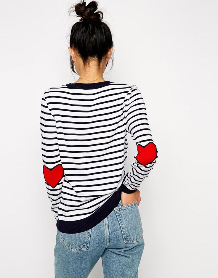 ASOS | ASOS Stripe Sweater With Heart Elbow Patch at ASOS