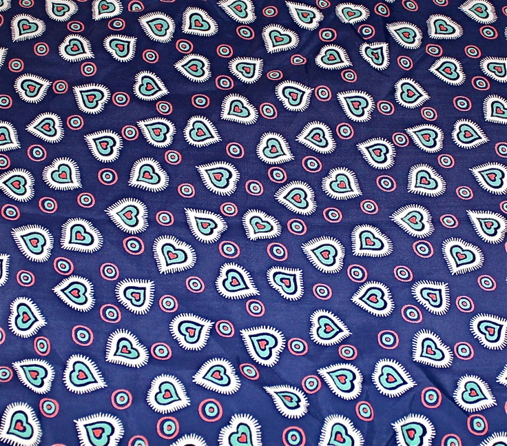 Vintage 1940's Rayon Print Fabric - Navy with Hearts - 1-1/3 yds. $40.00, via Etsy.
