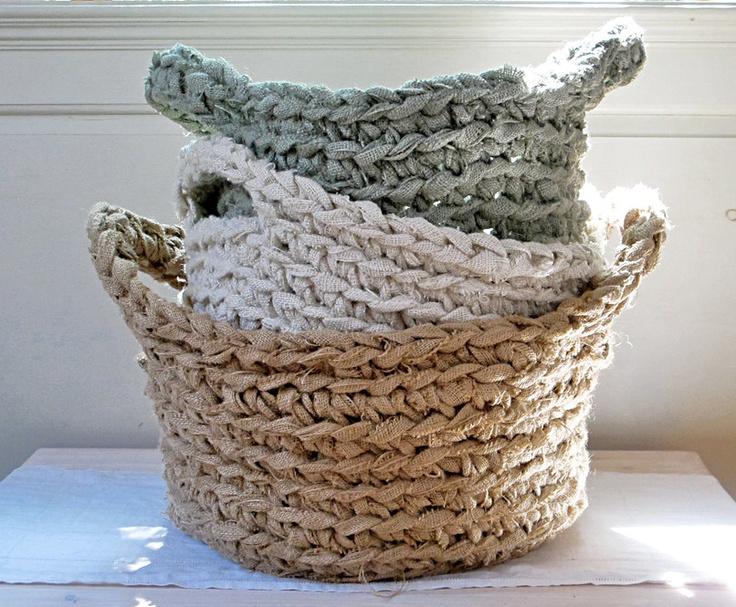 Burlap Basket Three Piece Gift Set, Oversized for Decorative Storage, Laundry, Paper Recycling.  Custom Colors. $350.00, via Etsy.