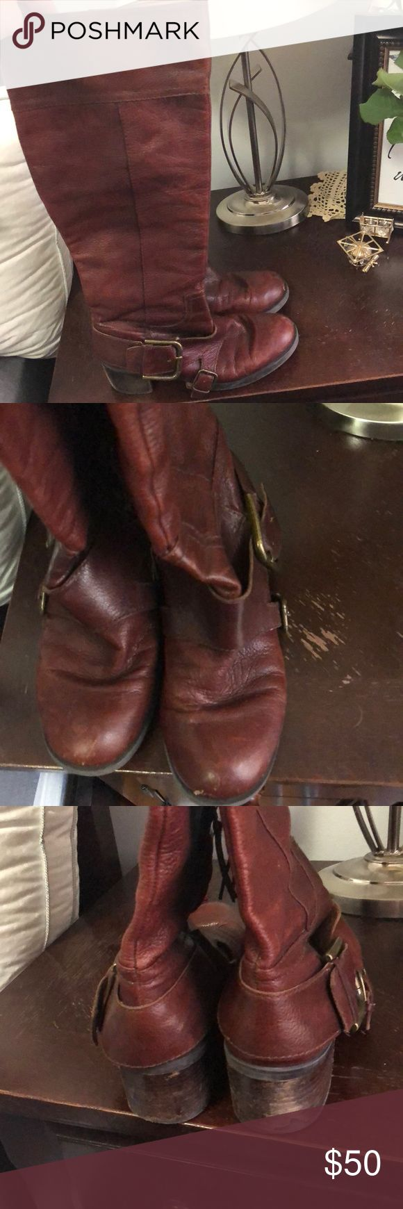 Nine West long Brown Leather Boots 👢 Used genuine leather Nine West Boots in brown. One of the heels is slightly worn (see photos), however the boots are comfortable, look great dressed up or down, and are in good condition. Nine West Shoes Heeled Boots