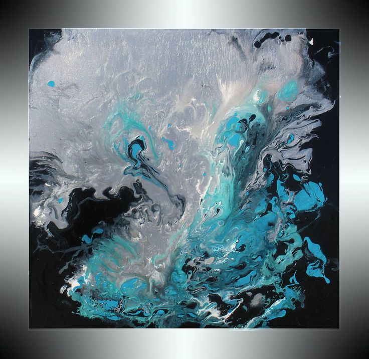 Reserved for Karlyn,only. Painting Metallic Silver Painting Turquoise Painting Aqua Teal Black Original Abstract Stretched Canvas Art DAY. $178.00, via Etsy.