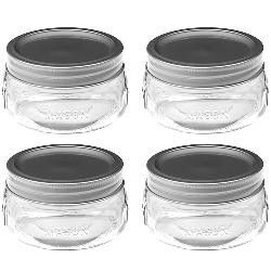 These teeny-tiny half-pint Mason jars would be perfect for homemade dips/sauces to be presented under ribbon-garnished cellophane with fruit or pretzels as gifts!!