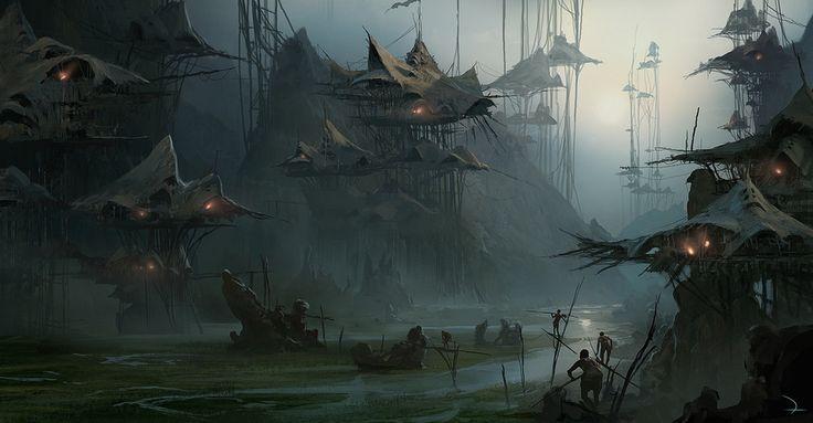 swamp village by Martin Deschambault | Fantasy | 2D | CGSociety