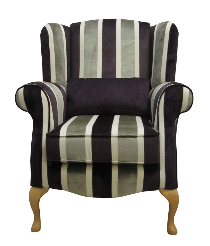 Purple, Cream and Grey Stripe Queen Anne Chair.   View this chair in various colours on our website via this link  http://drumbristonfurniture.ie/chairs13.html
