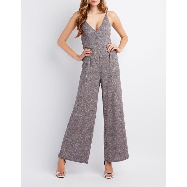 Charlotte Russe Glitter Strappy-Back Wide Leg Jumpsuit ($26) ❤ liked on Polyvore featuring jumpsuits, silver, charlotte russe jumpsuit, jump suit, silver jumpsuit, strappy jumpsuit and wide leg jumpsuit