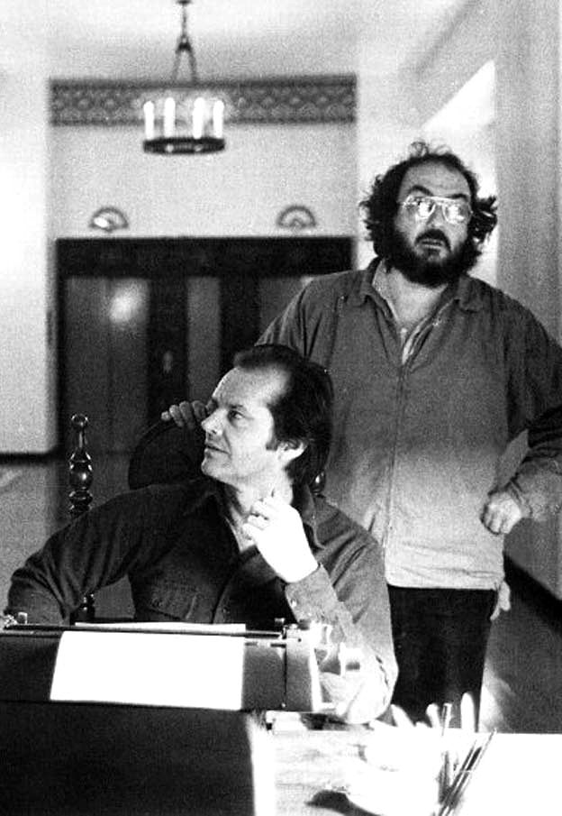 "Stanley Kubrick and Jack Nicholson on the set of ""The Shining""."