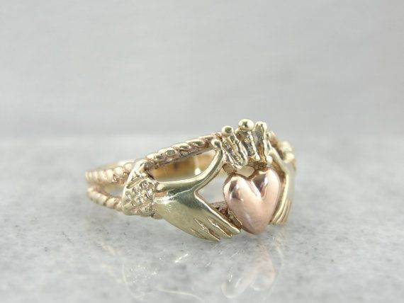 Rose and Yellow Gold Claddagh Ring Vintage Irish by MSJewelers on Etsy, maybe just one rope band?