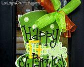 St Patricks Day Door Hanger, St Patricks Day Decor, Door Decoration, Leprechaun Hat Door Hanger