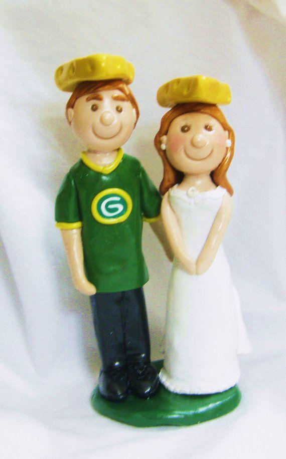 Green Bay Packers Cheesehead Cake Topper Bride by JackiesFlowers, $80.00