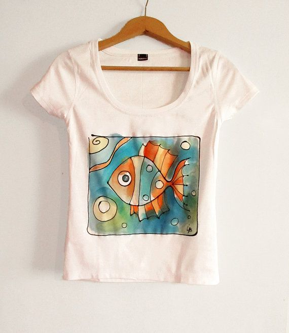 Tshirt with fun fish . Hand painted t shirt with by AHouseAtelier, $40.00