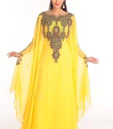 Buy Yellow arabian islamic kaftan crystal-abaya online