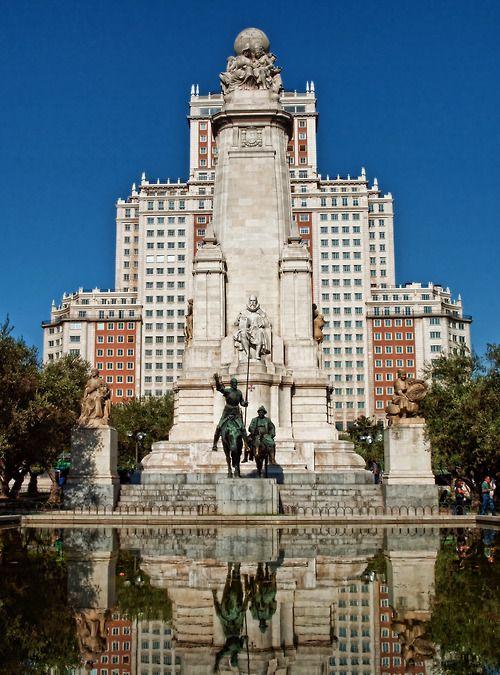 Cervantes monument in Plaza de España Madrid, Spain