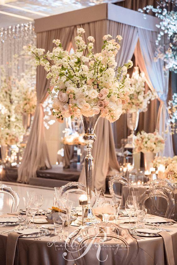 Glamorous blush ballroom wedding reception; Via Rachel A. Clingen Wedding & Event Design