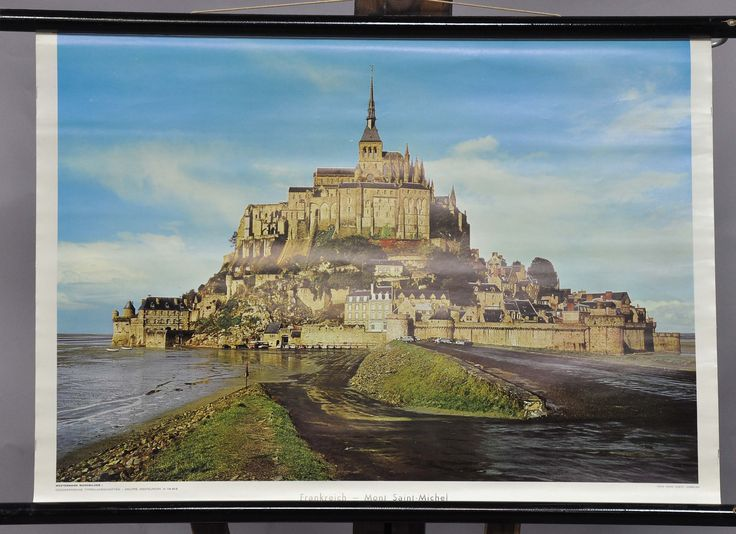 pull-down wall chart vintage poster France Mont Saint-Michele by Westermann Verlag