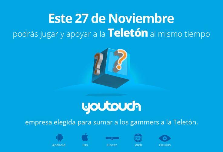 #TELETÓN2014! Síguenos y apoya a que todos descubran de que tratará el más entretenido #juego de esta Teletón. Lanzamiento 27 de noviembre 2014. Sigue nuestras pistas en #youtouch!