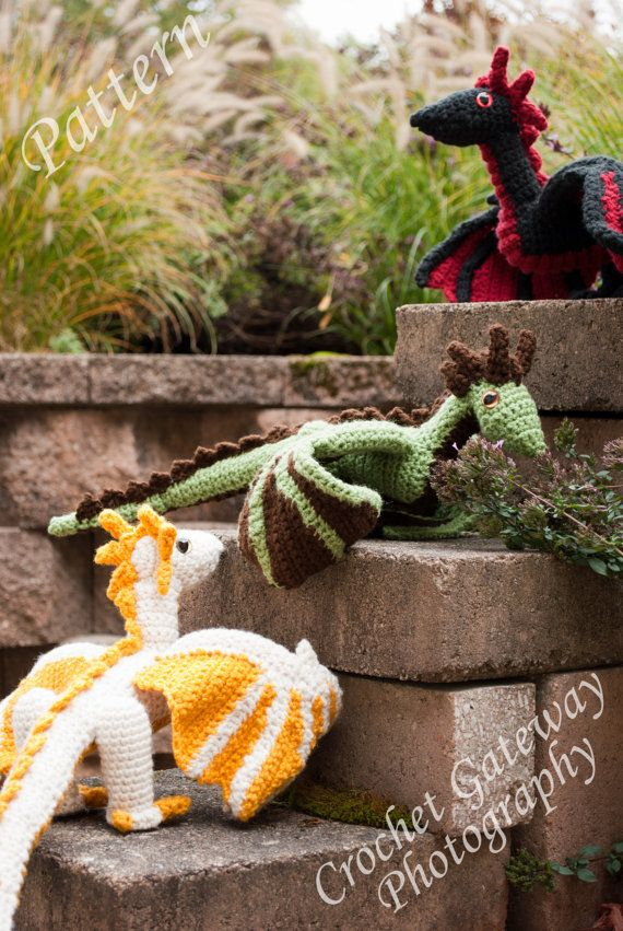 **This listing is for the PATTERN ONLY and not a finished toy.**  ** This listing is for one crocheted dragon pattern/ however there is a normal
