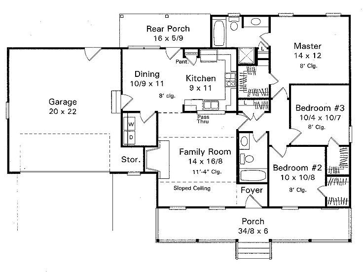 Plan 030h 0003 find unique house plans home plans and Ranch bungalow floor plans