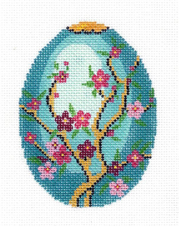 Lee Jeweled Cherry Blossoms on Blue Egg Handpainted Needlepoint Canvas HP 462 | eBay