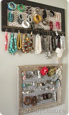Organized Jewelry with thrift store finds :: OrganizingMadeFun.com