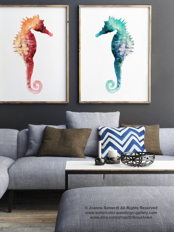 Seahorse Minimalist Painting Nautical Animals Set by Silhouetown #seahorses #set #watercolor #painting