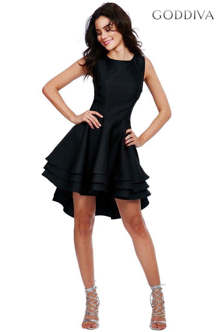 Multilayered Sleeveless Skater Dress - Black
