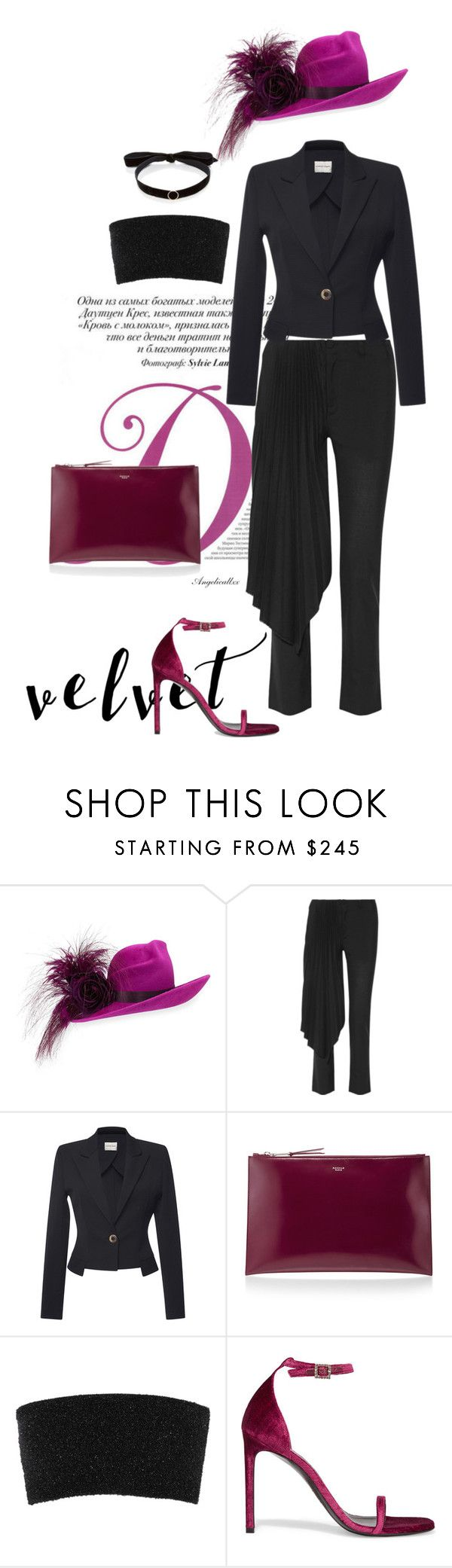 """""""f a n c y"""" by angelicallxx ❤ liked on Polyvore featuring Philip Treacy, Facetasm, Emanuel Ungaro, Rochas, Calvin Klein Collection, Yves Saint Laurent, Mateo and velvet"""